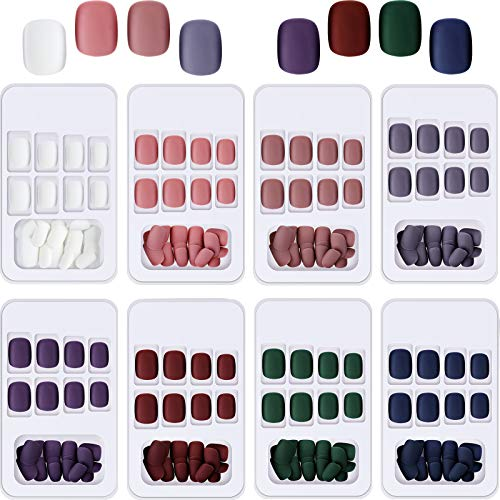 192 Pieces Short False Nails Square Matte False Nail Press on Colorful Acrylic Nails Full Cover Coffin Fake Nail for Women and Girls 8 Boxes (Multicolor)