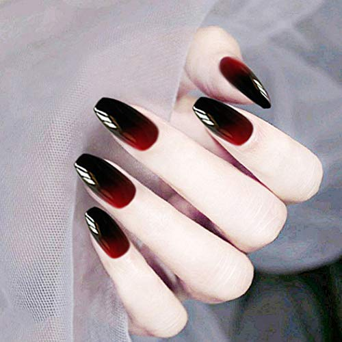 Zehory Glossy Red Press on Nails Black Long Coffin Fake Nails Christmas Gradient Acrylic Full Cover Ballerina False Nails for Women and Girls (24Pcs) (Red Black)