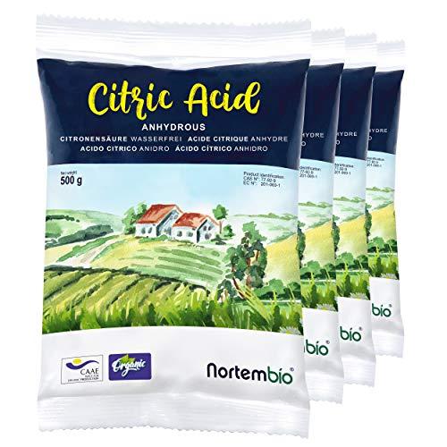Nortembio Acido Citrico 2 kg (4x500g). Polvere Anidro, 100% Puro. per Produzione Biologica. E-Book...