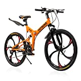 PanAme 26 Inch Folding Bike, Mountain Bike with 6 Spoke Wheels and 21 Speed Shimano Shifter, Full Suspension Anti-Slip Bicycle for Adult, Orange