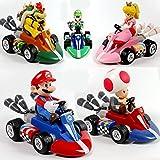 5 Unids Super Mario Bros Anime Juego Figuras De Acción PVC Luigi Yoshi Cartoon Mushroom Kart Pull...