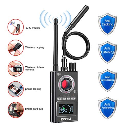 Rilevatore di Segnale, ZOTO Anti Spy Bug RF Rilevatore per Telecamera Nascosta Laser Lens Gsm Ascolto Dispositivo di Finder,Allarme Senza Fili Segnale,Videocamera Tracker,GPS