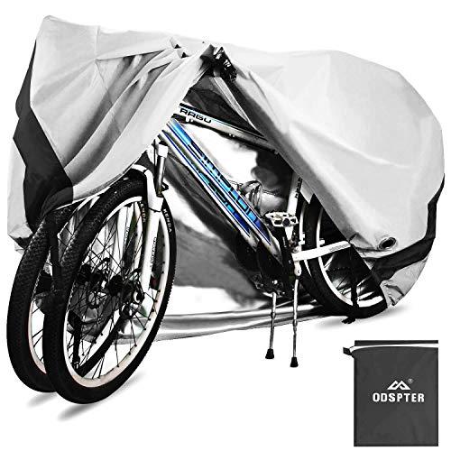 ODSPTER Fahrradabdeckung für 2 fahrräder wasserdichte 210D Oxford-Gewebe Atmungsaktives Draussen Fahrrad Schutzhülle mit Schlossösen Schutz, für Mountainbike und Rennrad 29 Zoll (Silber)
