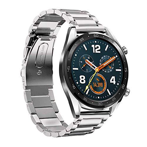 Pulseira HATALKIN para Huawei Watch GT 2, compatível com Huawei Watch GT2 / GT/GT 2E, pulseira de relógio de 22 mm ajustável pulseira clássica de aço inoxidável, Prata