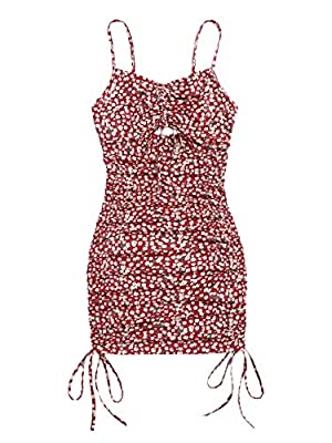 Summer ditsy floral ruched bodycon mini dress Soft and comfortable fabric, fabric has some stretch Feature: Adjustable spaghetti strap, floral, cut out, drawstring, tie side, bodycon, pencil, slim fit, fashionable Suitable occasions: Suit for casual ...