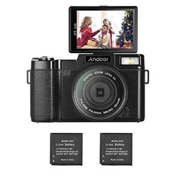 Andoer R1 Vlogging Digital Camera w/UV Filter and 2pcs Li-ion Batteries