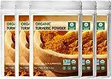 Premium Quality Organic Turmeric Root Powder with Curcumin (5 lbs - 5 Packs of 1 lb each), Gluten-Free & Non-GMO (80 ounces)   Indian Seasoning