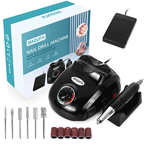Electric Nail Drill Machine with Pedal,MAQUITA 30000RPM Professional Nail Drill Machine and 6Pcs Nail Drill Bits for Removing Acrylic Gel Nails,Polishing Acrylic Nails Design Tools Home Salon Use