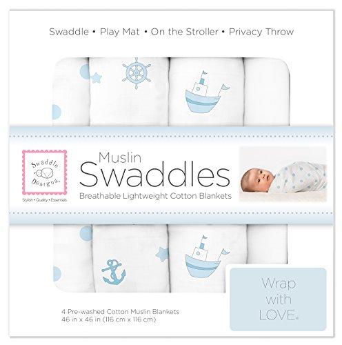 SwaddleDesigns Cotton Muslin Swaddle Blankets, Set of 4, Pastel Blue Nautical Ships Ahoy!