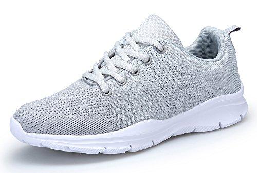 KOUDYEN Zapatillas Deportivas de Mujer Hombre Running Zapatos para Correr Gimnasio Calzado Unisex,XZ746-W-grey-38EU