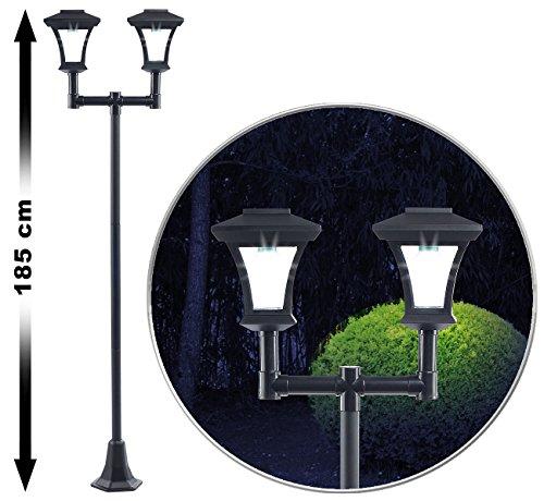 Royal Gardineer Gartenleuchte: 2-flammige Solar-LED-Gartenlaterne, SWL-25, 0,36 W, 24 lm, 185 cm hoch (Aussenlaterne)