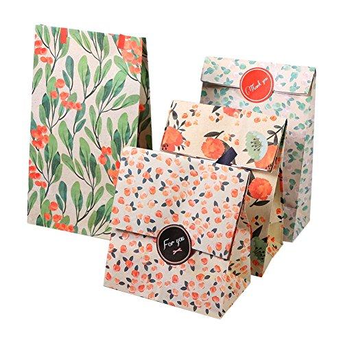 bolsa de papel, Bolsas de papel Kraft 12 piezas de papel de flores bolsos de papel con pegatinas para la boda Fiesta de cumpleaños Año Nuevo Regalo de la fiesta de compras Mechandise Bolsas de regalo