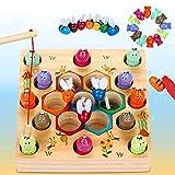 Dookey Jouets en Bois Jeu de pêche, 2 In1 Jeux Montessori en Bois Bebe Puzzle...
