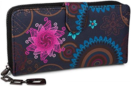 styleBREAKER Geldbörse mit Ethno Blumen und Blüten Muster, Vintage Design, Reißverschluss, Portemonnaie, Damen 02040040, Farbe:Dunkelblau-Blau-Pink