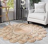Tapis Jute Naturel - Tapis Rond 100% Fibre de Jute - Cosy'ness Durable Moquette Carpette à La Main Décor Salon - Beige 80cm