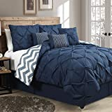 Avondale Manor 7-Piece Ella Pinch Pleat Comforter Set, Queen, Navy