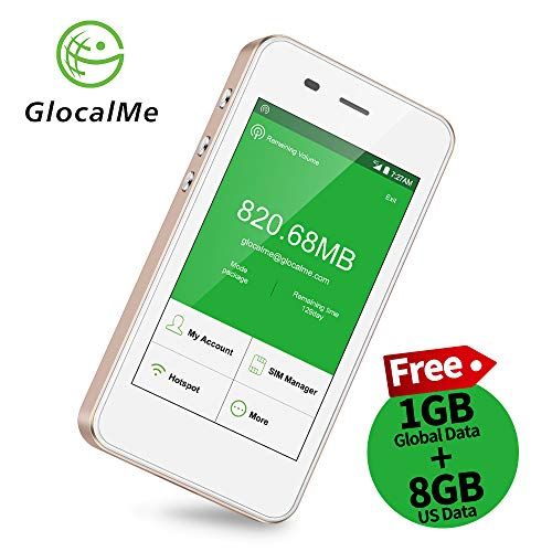 GlocalMe G3 4G LTE Mobile Hotspot, [Upgraded Version] Worldwide High Speed WiFi Hotspot with 1GB Global Initial Data, No SIM Card Roaming Charges International Pocket WiFi Hotspot MIFI Device (Gold)