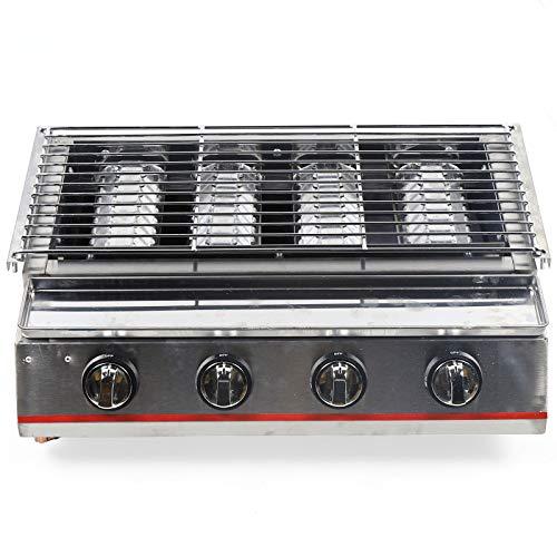 Barbecue portatile a cartuccia di gas LPG, barbecue a 4 fuochi, griglia per barbecue