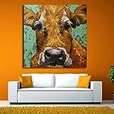 wZUN Lienzo Mural Imagen decoración del hogar Vaca Animal Pintura Sala de Estar impresión Colorida Vaca Abstracta Cartel 50x50cm Sin Marco