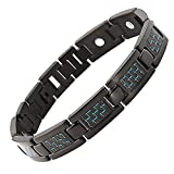 N+NITROLUBE Titanium Mens Magnetic Bracelets Link Fashion Blue Carbon Fiber for Men Bracelet Magnetic Jewelry Gift (Black,8.66 in)