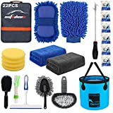 AUTODECO 22Pcs Car Wash Cleaning Tools Kit Car Detailing Set with Blue Canvas Bag Collapsible Bucket...