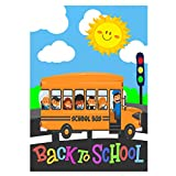 Wamika Back to School Bus Kids Students Autumn Fall Double Sided Garden Yard Flag 12' x 18',Welcome School Days Books Apple Decorative Garden Flag Banner for Outdoor Home Decor Party
