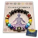 WICCSTAR Double Chakra Bracelet en Pierre Naturelle Reiki Charme. avec la Carte...