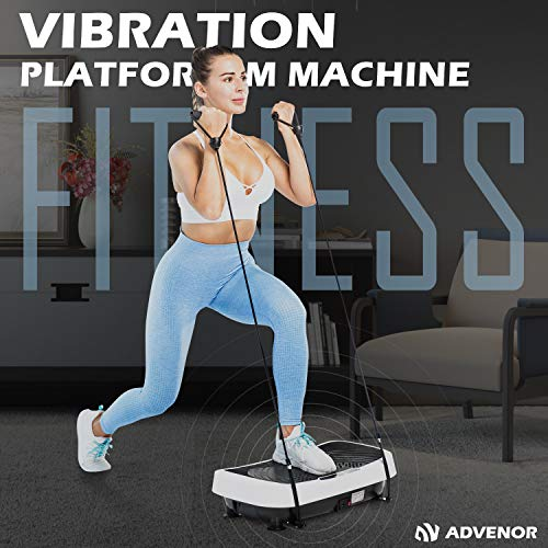 ADVENOR Vibration Plate Exercise Machine 3D Whole Body Workout Fitness Platform with Loop Bands Silent Motor Speed Control 1-99 Level for Home Fitness & Weight Loss Max User Weight 330lbs 7