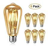 Ampoule Edison, otutun Ampoule LED Vintage Lampe Décorative E27 4W Rétro...