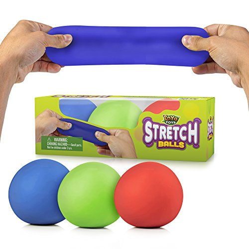 Pull, Stretch and Squeeze Stress Balls by YoYa Toys - 3 Pack...
