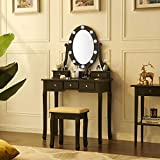 Fineboard, Black Makeup Vanity Dressing Table Set with LED Lights Mirror and Stool with 5 Drawers