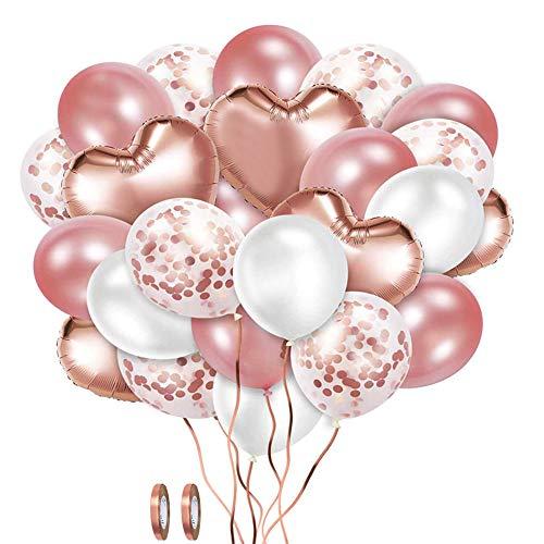 XYDZ Set di Palloncini Coriandoli Oro Rosa, 48 Pezzi Palloncini Coriandoli in Lattice Bianco Oro Rosa Palloncini Foil a Forma di Cuore per Feste di Compleanno, Matrimoni, Decorazioni per Festival