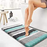 KMAT Luxury Bathroom Rugs Bath Mat,20'x32', Non-Slip Fluffy Soft Plush Microfiber Shower Carpet Rug, Machine Washable Quick Dry Ultra Shaggy Bath Mats for Tub, Bathroom and Shower, Green-Grey