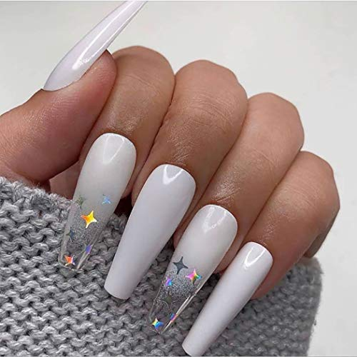 Gangel Coffin False Nails Sparkle Star Fake Nail Full Cover Pure White Fake Nails Long Ballerina Acrylic Press on Nails Party Christmas Gifts for Women and Girls 24Pcs