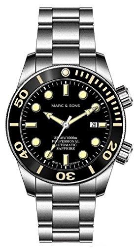 Marc & sons - Orologio subacqueo automatico 1000 m, vetro zaffiro, valvola per l'elio, lunetta in...