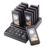 JOYSAE Restaurant Pager System Portable Wireless Calling System with 10pcs Coaster Pagers and 1pc Call Button Keypad Transmitter for Restaurant Clinic Church Cafe Shop