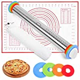 Rolling pin, rolling pin with thickness rings, Baking Dough Pizza Pie lefse Pastries Pasta Cookies (17'Rolling Pin,Non-Stick Baking Mat and Covers)