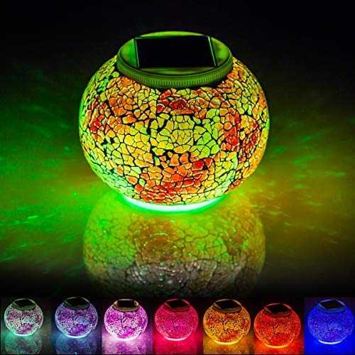Mosaic Solar Lights Outdoor Color Changing,Waterproof Table Lamps,Crystal Glass Globe Ball Lights for Garden,Patio,Yard, Party Decorations,A4