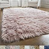 Gorilla Grip Original Premium Faux Fur Area Rug, 6x9, Softest, Luxurious Shag Carpet Rugs for Bedroom, Living Room, Luxury Bed Side Plush Carpets, Rectangle, Dusty Rose