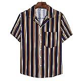 SSBZYES Chemises pour Hommes Chemises D'été à Manches Courtes T-Shirts Hauts pour Hommes Chemises Grandes Tailles Chemises à Rayures en Coton Et Lin à Manches Courtes Chemises Décontractées