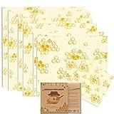 Ichen Emballage Cire d'abeille,Bio 8 Pcs Paquet Bee Wraps,Zéro Déchet Beeswax Wraps,Emballages Alimentaires Réutilisables écologiques,pour Le Fromage à Sandwich Fruits Et Légumes à Conserver Frais