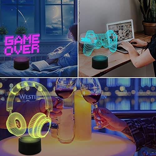 FULLOSUN Pixel Game Over Illusion Lamp, Gamepad 3D Night Light (3 Patterns) with Remote Control 16 Color Changing Gaming Room Headset Decor Best Gamer Gift