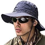 サファリハット メンズ 【UPF50+ UVカット率99% 日焼け防止】ハット 帽子 2WAY 大きいサイズ つば広 軽薄 通気性抜群 日除け 紫外線対策 折りたたみ あご紐付き アウトドア 釣り ハイキング 登山 レディース 男女兼用