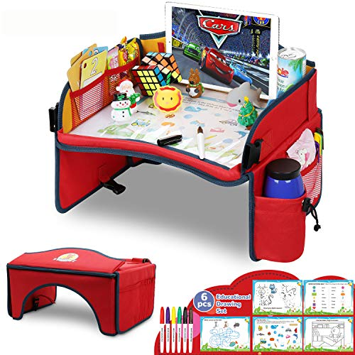 Toddler Seat Table, Standable Travel Tray, Indoor Snack Desk with Dry Erase Top for Painting & Parent-Child Interaction Activity Tray Bonus Template & Pens Lap Tray for Kids Improve Imagination