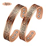 Jecanori Copper Magnetic Bracelet for Women Men for Arthritis Pain Relief Therapy Bracelets 2PCS Pure Copper Cuff Bangle with 6 Magnets(Tree of Life | Claddagh)