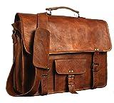 ANUENT Vintage maletín de Cuero de Cuero Suave Mensajero Satchel portátil (15 Pulgadas)