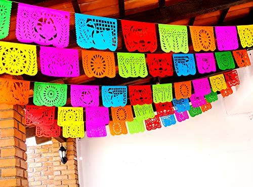5 unidades de decoración para fiestas de fiesta, papel picado pancarta de 60 pies en total, guirnalda de papel de Cinco de Mayo, suministros de fiesta temática mexicana para bodas, cumpleaños, banderas de papel picado WS100