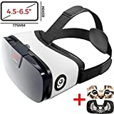 VR Headset - Virtual Reality Goggles by VR WEAR 3D VR Glasses for iPhone 6/7/8/Plus/X & S6/S7/S8/S9/Plus/Note and Other Android Smartphones with 4.5-6.5' Screens + 2 Stickers