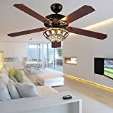 Modern Ceiling Fan 5 Wood Blades With Tiffany Glass Shade, Quiet Handmade Fan Chandelier, Remote Control, Black Finish, 52-Inch