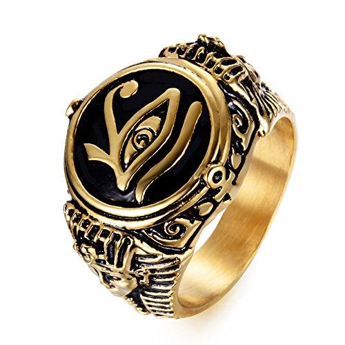 Anillo en acero inoxidable, color oro y negro Ojo de Horus
